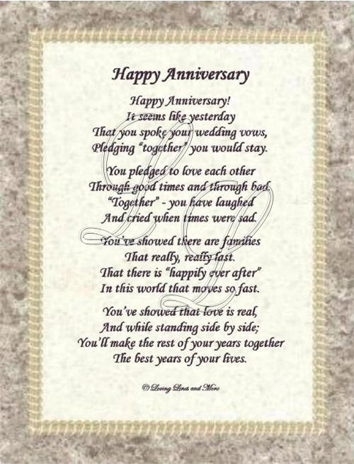 happy anniversary poem Happy wedding anniversary wishes to a couple : we provide you some awesome wedding anniversary wishes to a couple if you are searching for perfect wishes to your relatives, marries friends or your loved ones, you are at the right platform.