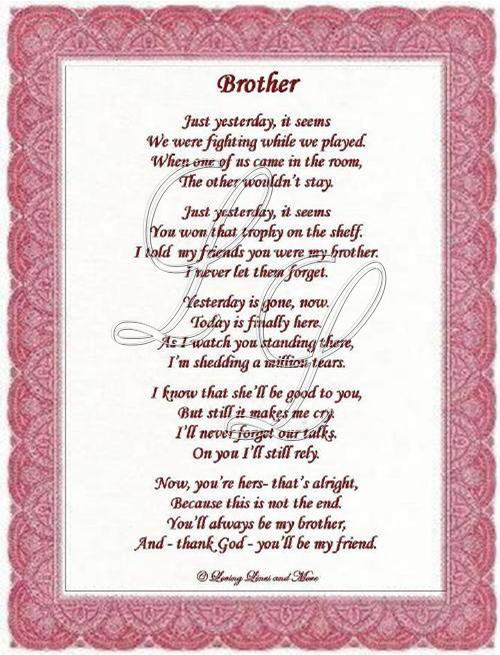 Brother For His Wedding Poem