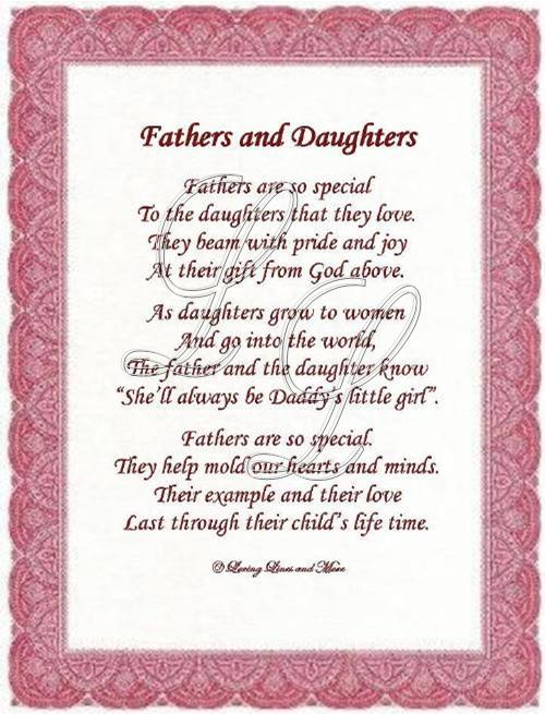 Fathers and Daughters Poem Fathers Day Poems From Daughter