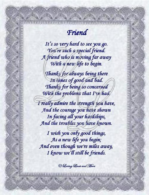 Friend poem is for that special friend that is moving away poem may