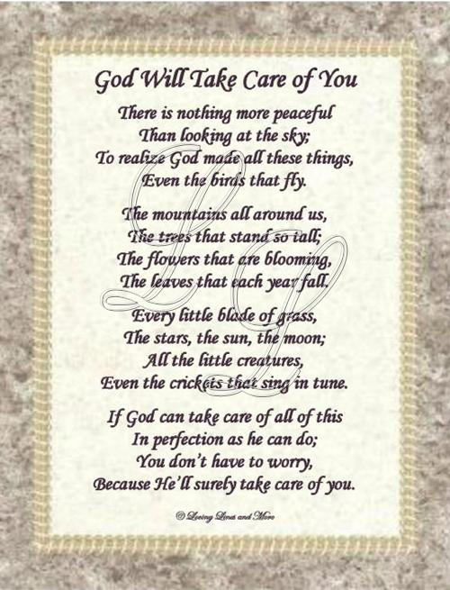 God Will Take Care Of You Poem