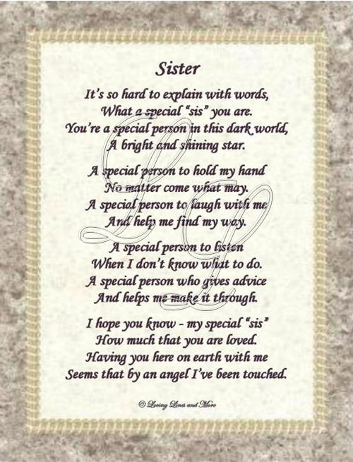 Pin Special Sister Poem on Pinterest
