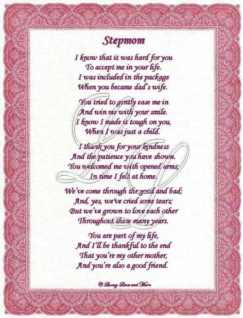 Sweet Birthday Greeting Card For Stepmom To Order And Personalize The Poem Above With A Specific Color 500x655
