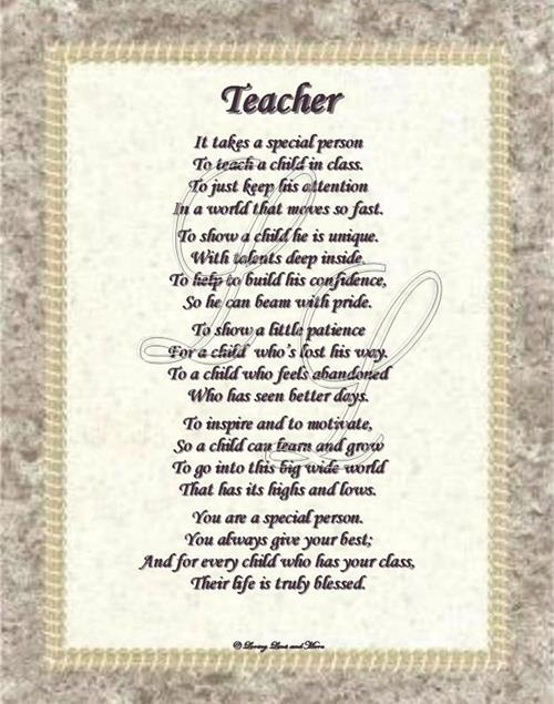Inspirational Poems For Teachers Teacher Poems